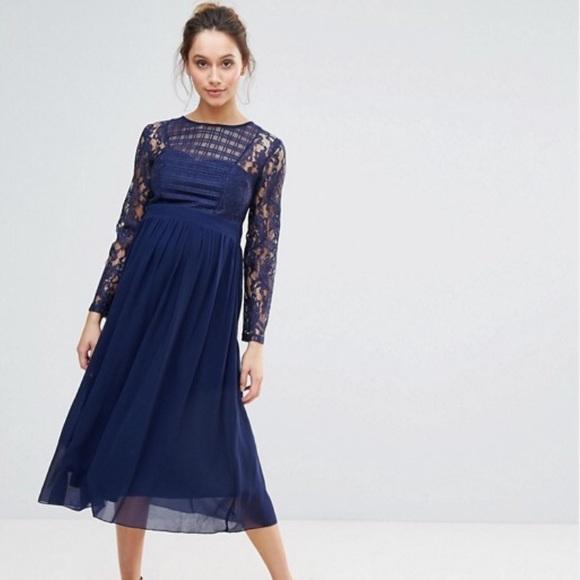 841e685041651 Little Mistress Dresses & Skirts - Little Mistress Maternity Grid Lace Midi  Dress